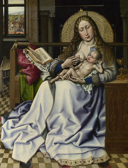 Follower of Robert Campin - The Virgin and Child before a Firescreen. Part 2 National Gallery UK
