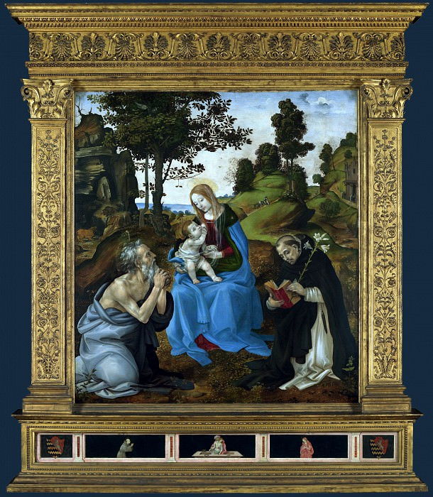 Filippino Lippi - The Virgin and Child with Saints Jerome and Dominic. Part 2 National Gallery UK