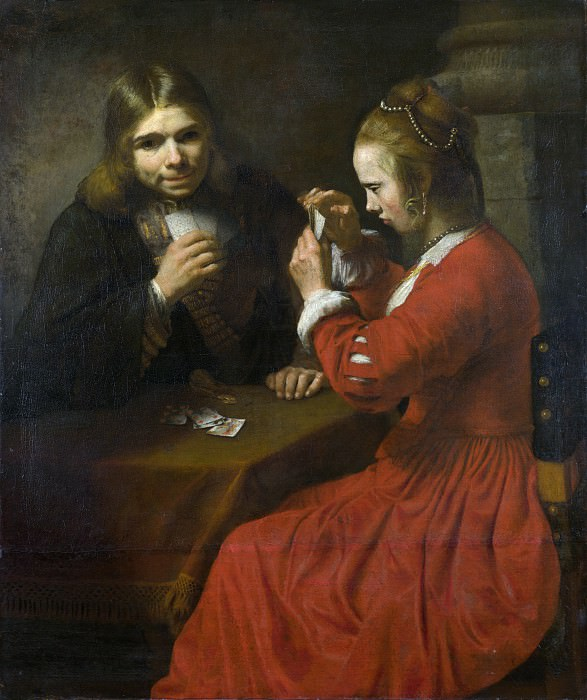 Follower of Rembrandt - A Young Man and a Girl playing Cards. Part 2 National Gallery UK