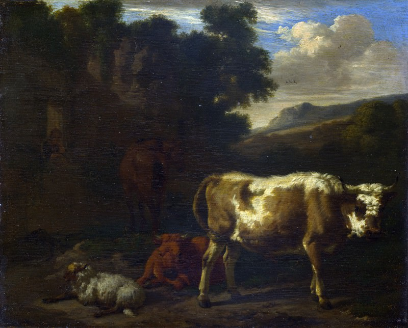 Dirck van den Bergen - Two Calves, a Sheep and a Dun Horse by a Ruin. Part 2 National Gallery UK