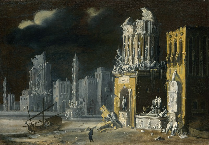 Francois de Nome - Fantastic Ruins with Saint Augustine and the Child. Part 2 National Gallery UK