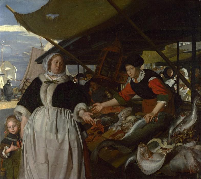 Emanuel de Witte - Adriana van Heusden and Daughter at the Fishmarket. Part 2 National Gallery UK
