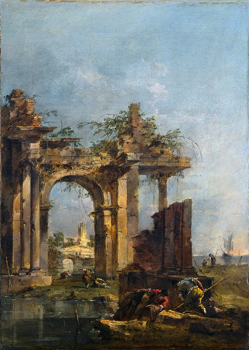 Francesco Guardi - A Caprice with Ruins on the Seashore. Part 2 National Gallery UK
