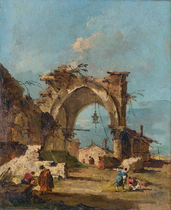 Francesco Guardi - A Caprice with a Ruined Arch. Part 2 National Gallery UK