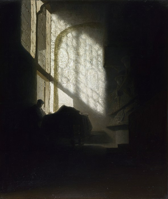 Follower of Rembrandt - A Man seated reading at a Table in a Lofty Room. Part 2 National Gallery UK