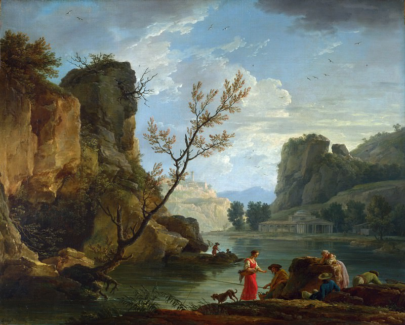 Claude-Joseph Vernet - A River with Fishermen. Part 2 National Gallery UK