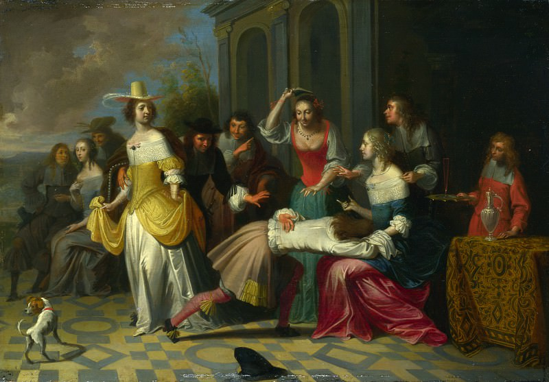 Follower of Hieronymus Janssens - Ladies and Gentlemen playing La Main Chaude. Part 2 National Gallery UK