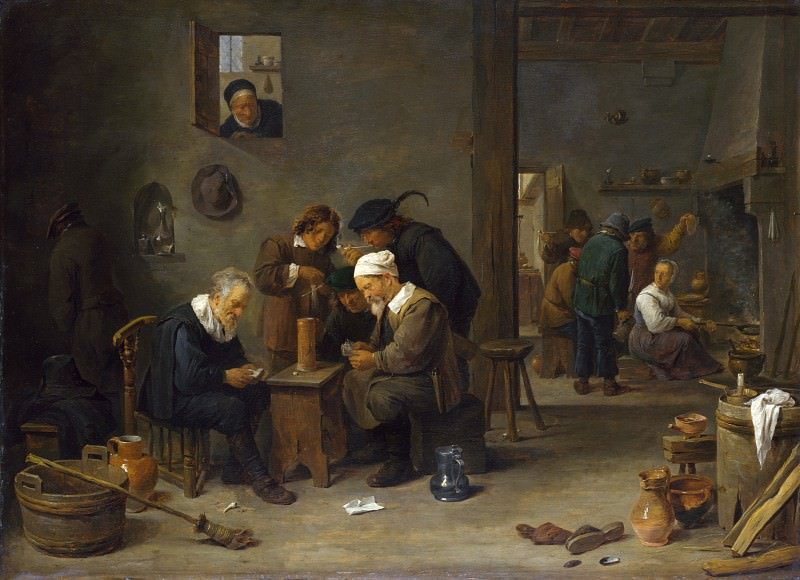 David Teniers the Younger - Two Men playing Cards in the Kitchen of an Inn. Part 2 National Gallery UK