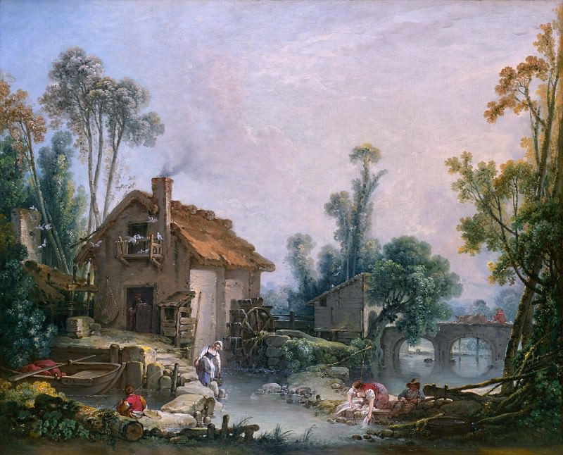 Francois Boucher - Landscape with a Watermill. Part 2 National Gallery UK