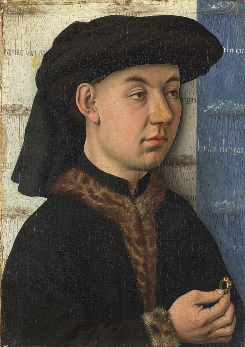 Follower of Jan van Eyck - A Young Man holding a Ring. Part 2 National Gallery UK