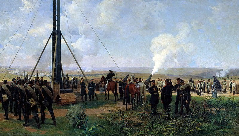 Artillery battle at Plevna. Siege Battery. Nikolay Dmitriev-Orenburgsky