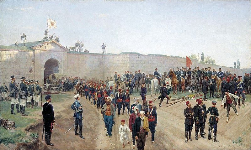 Fortress of Nikopol surrender, July 4, 1877. 1883. Canvas. Nikolay Dmitriev-Orenburgsky