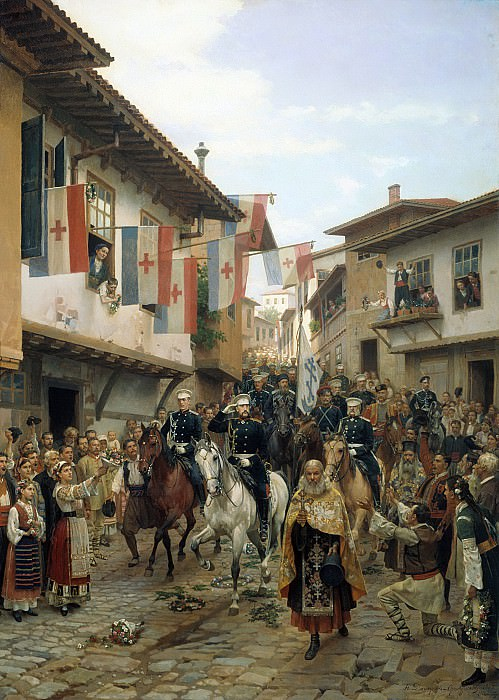 Entrance of Grand Duke Nikolai Nikolaevich to Tarnovo, 30 June 1877. 1885.. Nikolay Dmitriev-Orenburgsky