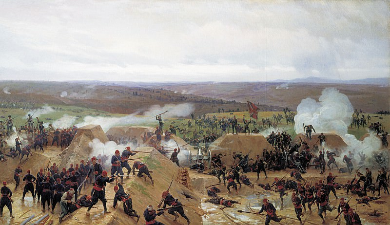 Capture of Grivitsky redoubt at Plevna. 1885. Oil on canvas.. Nikolay Dmitriev-Orenburgsky