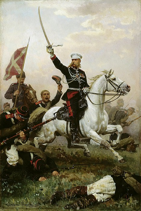 General Nikolai Skobelev on horseback. 1883. Oil on canvas. 47h30. Nikolay Dmitriev-Orenburgsky