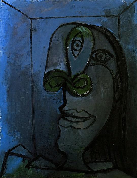 1938 TИte de femme au nez vert sur fond bleu-nuit (Dora). Пабло Пикассо (1881-1973) Период: 1931-1942