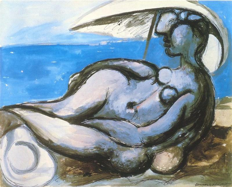 1933 Femme au parasol Вtendue sur la plage. Pablo Picasso (1881-1973) Period of creation: 1931-1942