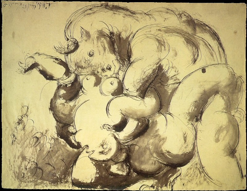 1933 Minotaure et nu (Le viol). Пабло Пикассо (1881-1973) Период: 1931-1942