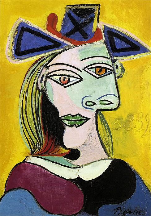 1939 TИte de femme au chapeau bleu Е ruban rouge. Pablo Picasso (1881-1973) Period of creation: 1931-1942