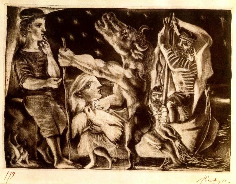 1934 Minotaure aveugle guidВ par une fillette dans la nuit IVb (Suite Vollard L92). Пабло Пикассо (1881-1973) Период: 1931-1942