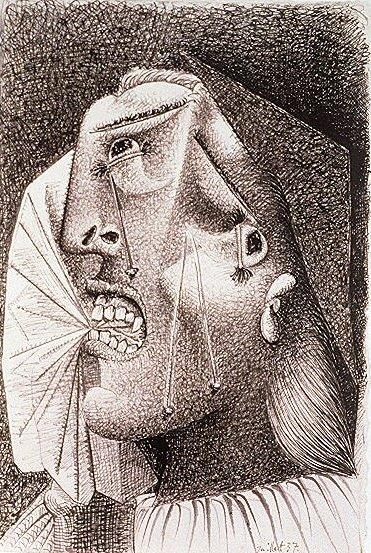1937 La femme qui pleure avec mouchoir Il. Пабло Пикассо (1881-1973) Период: 1931-1942