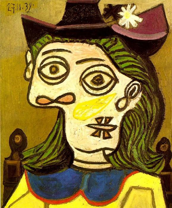 1939 TИte de femme au chapeau mauve. Пабло Пикассо (1881-1973) Период: 1931-1942
