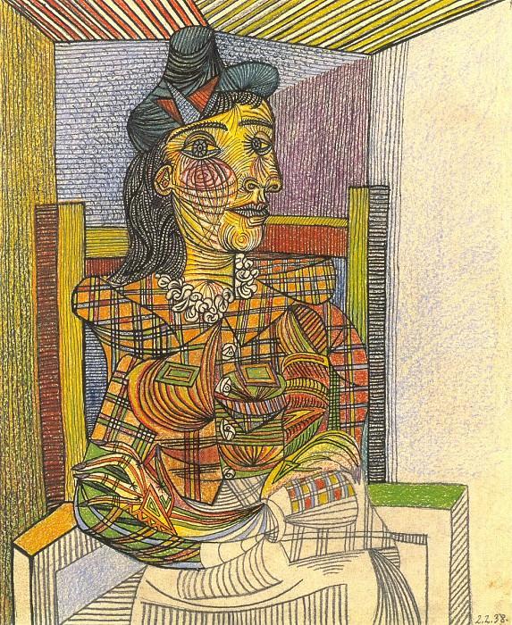 1938 Portrait de Dora Maar assise 1. Pablo Picasso (1881-1973) Period of creation: 1931-1942