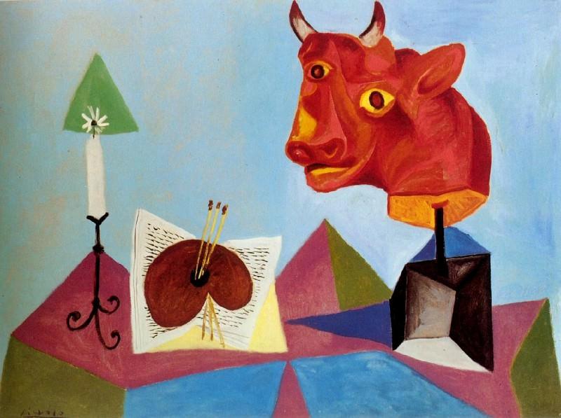 1938 Bougie, palette, tИte de taureau rouge. Пабло Пикассо (1881-1973) Период: 1931-1942
