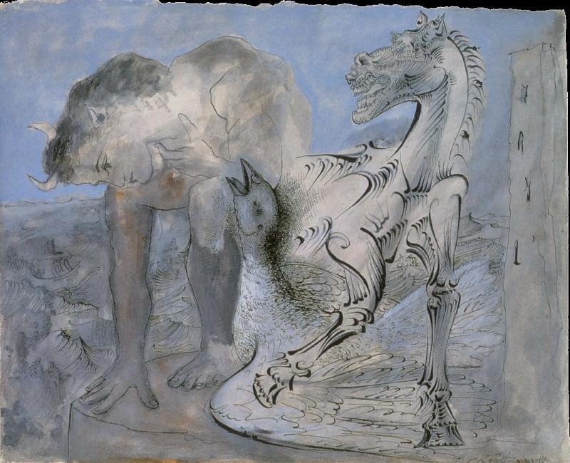 1936 Faune, cheval et oiseau. Пабло Пикассо (1881-1973) Период: 1931-1942