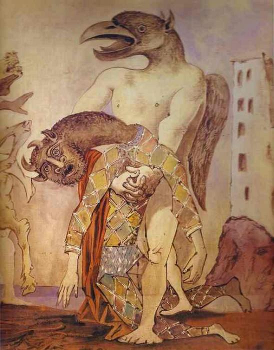 1936 La dВpouille du Minotaure en costume dArlequin pour le 14 juillet par Romain Rolland. JPG. Пабло Пикассо (1881-1973) Период: 1931-1942