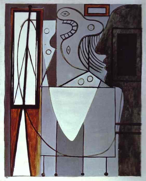 1940 silhouette de picasso et jeune fille en pleurs. Пабло Пикассо (1881-1973) Период: 1931-1942