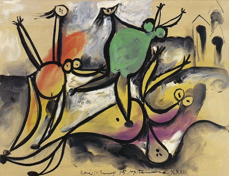 1932 Trois femmes jouant au bord de la mer, cabines de bain. Пабло Пикассо (1881-1973) Период: 1931-1942