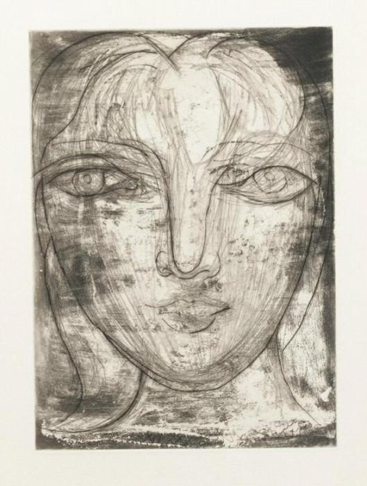 1934 TИte de face (Portrait de Marie-Thérèse Walter de face). Пабло Пикассо (1881-1973) Период: 1931-1942