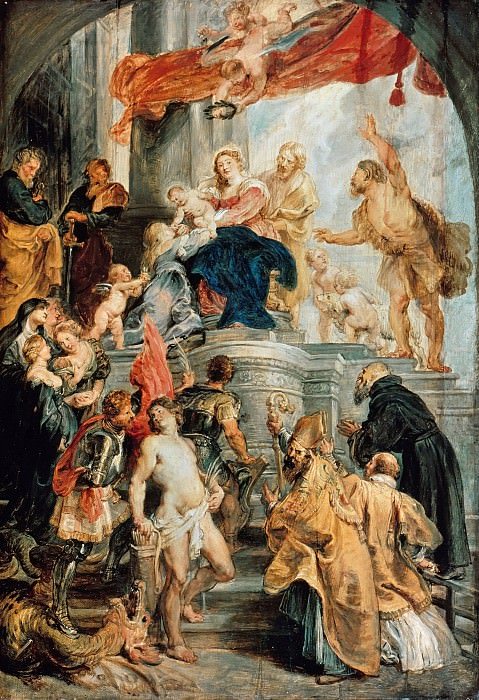 Rubens (1577-1640) - Virgin and Child Enthroned with Saints. Part 4