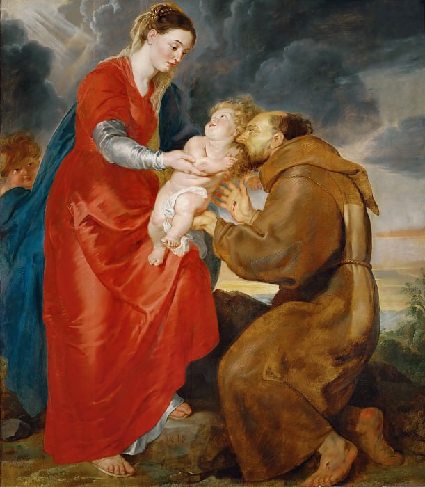 Rubens,Peter Paul -- The Virgin presents the infant Jesus to Saint Francis. Canvas, 1618. Peter Paul Rubens