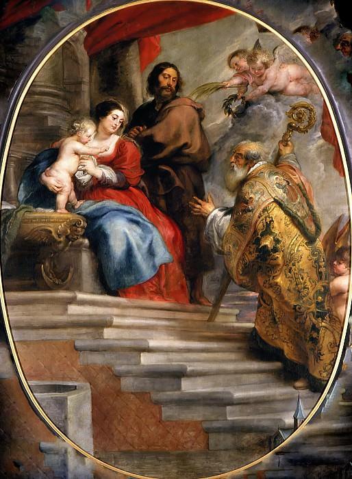 Святой Виллиборд, поклоняющийся Божьей Матери и Иисусу. Peter Paul Rubens