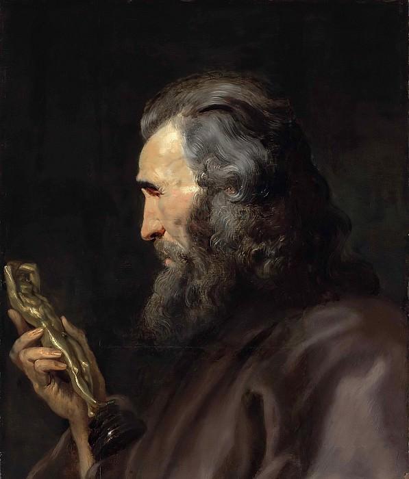 A bearded man in profile holding a bronze figure. Peter Paul Rubens