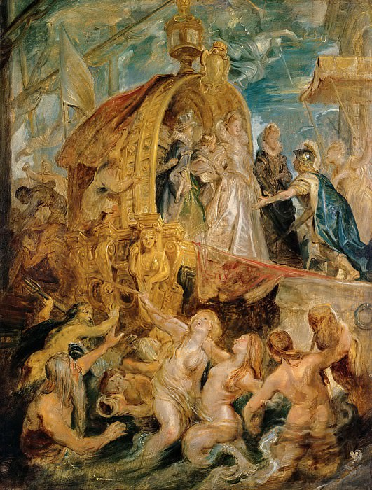 Peter Paul Rubens -- Medici Cycle: Reception of the Newly Married Marie de Medici in the Harbour of Marseille. Peter Paul Rubens