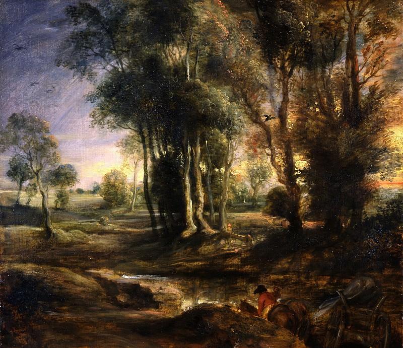 Утренний пейзаж с повозкой. Peter Paul Rubens