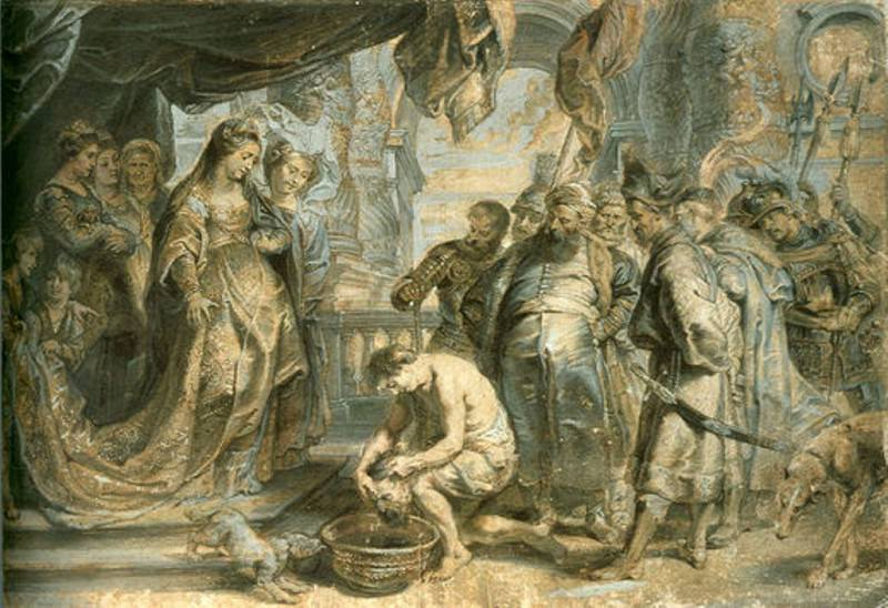 Царица Томирис приказывает опустить голову поверженого Кира в сосуд с кровью - 1630. Питер Пауль Рубенс