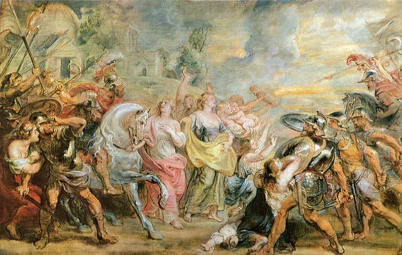 Truce between Romans and Sabinians. Peter Paul Rubens