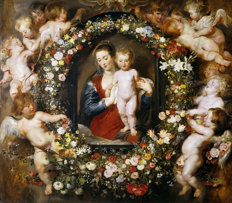 Madonna in Floral Wreath - 1620. Peter Paul Rubens