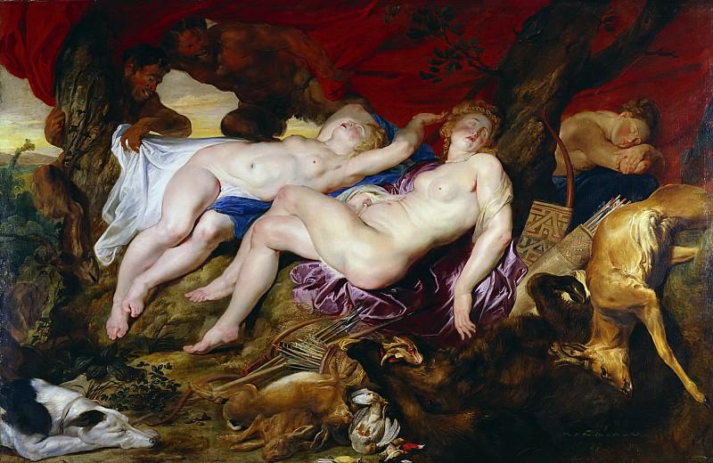 Диана с нимфами, застигнутые сатирами. Peter Paul Rubens