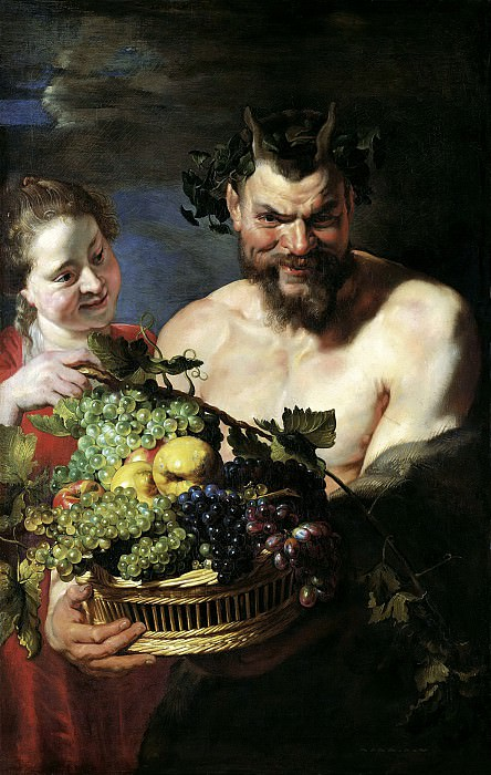 Satyr and Maid with Fruit Basket. Peter Paul Rubens