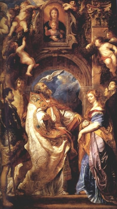 Saint Gregory With Saints Domitilla, Maurus, And Papianus. Peter Paul Rubens