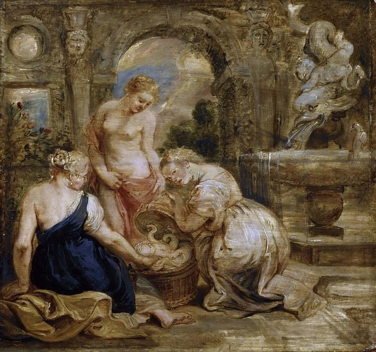 Cecrops' Daughters Finding Erichtonius. Sketch. Peter Paul Rubens