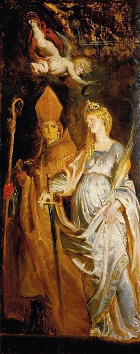 Saints Amandus and Walburga; Saints Catherine of Alexandria and Eligius -- c.1610. Peter Paul Rubens