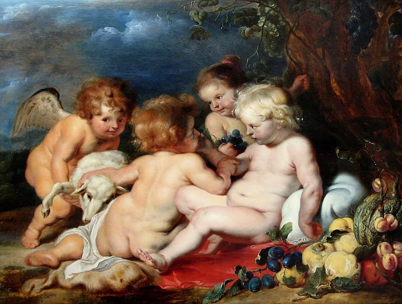 Рубенс (1577-1640) - Маленькие Иисус и Иоанн с ангелочками. Часть 4