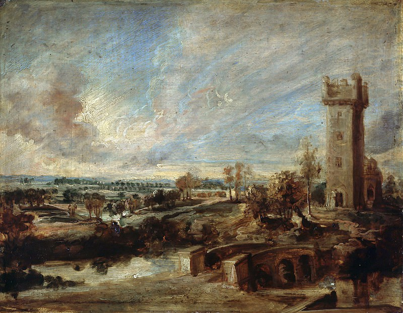 Rubens (1577-1640) - Landscape with Tower. Part 4