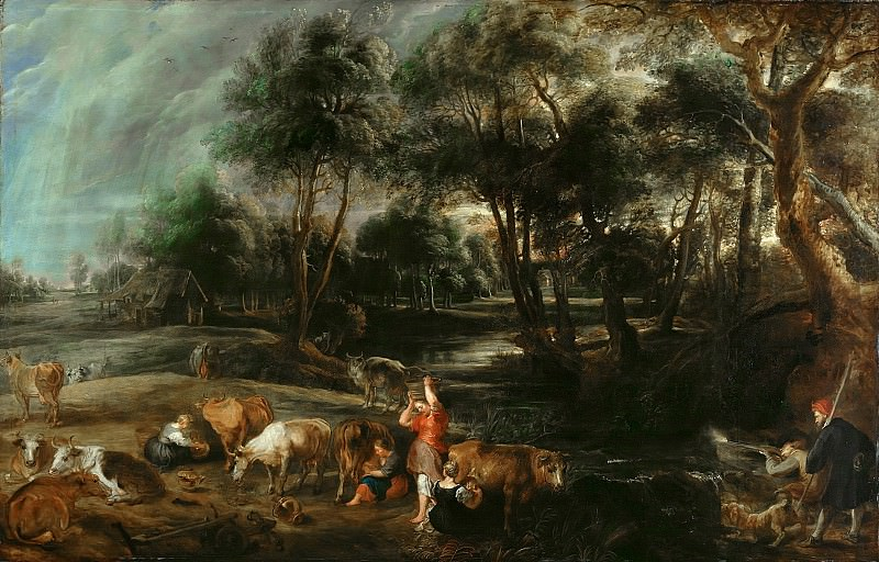 Landscape with Cows and Wildfowlers. Peter Paul Rubens